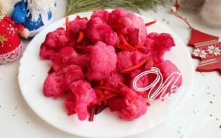 Цветная капуста маринованная быстрого приготовления со свеклой